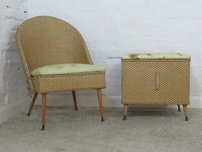 Vintage 1950s/1960s Wicker or Woven Bedroom or Occasional Chair & Lidded Ottoman