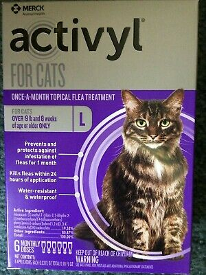 Activyl for Large Cats over 9 lbs - 6 Doses - Topical Flea Treatment - New Box!