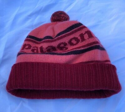 26d3d8ed Patagonia Powder Town Park Stripe Dusty Pink Tomato Beanie Marino Wool One  Size