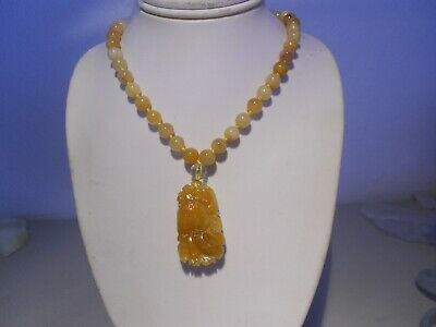 carved  yellow nephrite jade pendant/ beads necklace