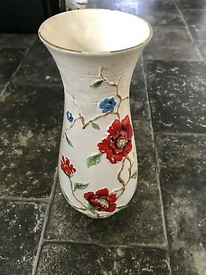 Vintage English Red Floral Vase 1930's-40 - Brentleigh England - Art Deco