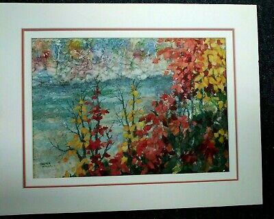 """Oil On Board 10 X 14"""" Painting By Virginia Woods Textured Leaves Triple Matted"""