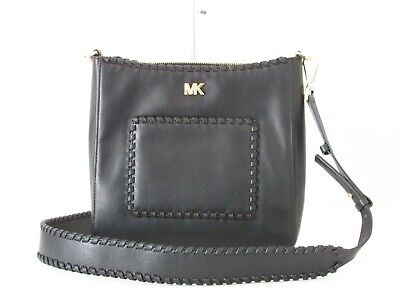 bceed6dab50b NEW Michael Kors Gloria Pocket Swing Pack Black Leather Messenger Shoulder  Purse