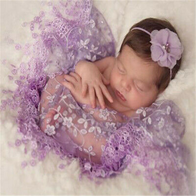 Newborn Baby Cheesecloth Swaddle Cocoon Lace Wrap Photo Photography Prop