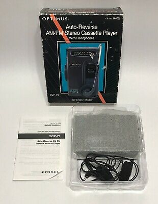 Optimus Auto Reverse AM FM Stereo Cassette Player With Headphones SCP-79 Tested