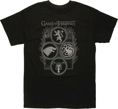 Game Of Thrones FOUR HOUSES IN CIRCLES SIGILS T-Shirt NWT Official