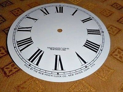 For American Clocks-New Haven Paper Clock Dial-125mm M/T-  GLOSS WHITE-Spares #