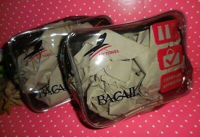 2 x  BAGAIL Transparent  Travel Toiletry Make Up  Bag ~ TSA Carry On Approved