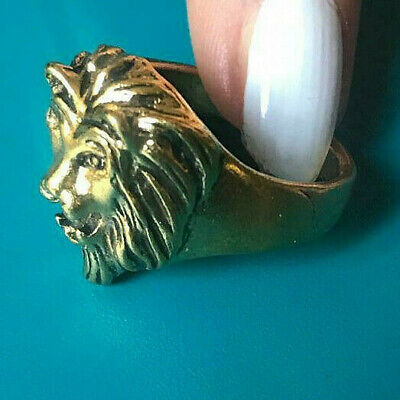 Ancient Viking Style Bronze Ring Solid LION HEAD SYMBOL VERY Stunning