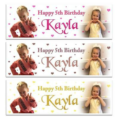 X 2 Personalised Girls Name Birthday Party Photograph Banners Kids Decoration