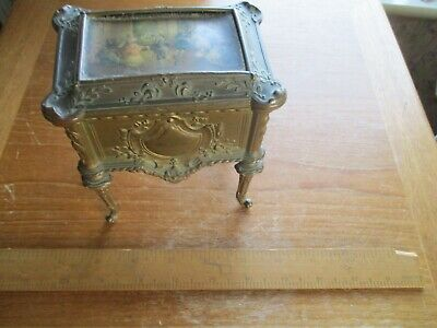 "antique french gilt metal ""depose""jewelry/dresser box"