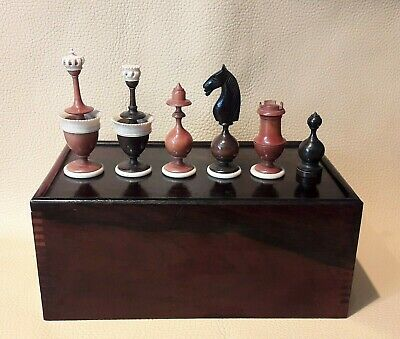 Fine Antique Original French Lyon Playing Set And Mahogany Chess Box. C. 1780