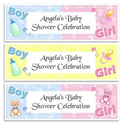 X 2 Personalised Gender Reveal Baby Shower Party Name Banners Wall Decoration