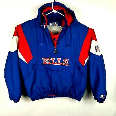 Top VTG 90S STARTER Buffalo Bills Hoodie Blue M Hooded Sweatshirt NFL  for sale
