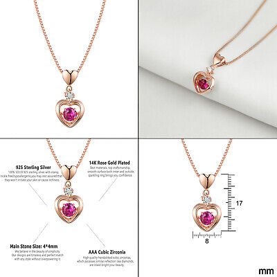 Newshe Heart Pendant Necklace 925 Sterling Silver Rose Gold Dancing Red Ruby Cz