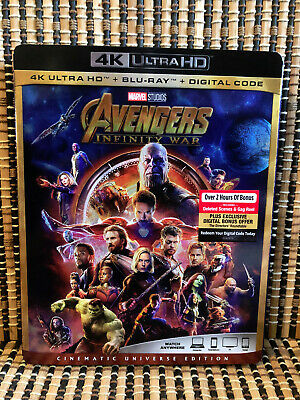Avengers 3: Infinity War 4K (1-Disc Blu-ray,2018)+Slipcover.Marvel/Iron Man/Thor