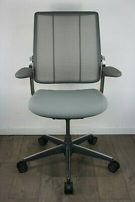 UK DELIVERY | Humanscale Diffrient Smart Chairs | Polished Aluminium | Grey Mesh