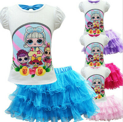 Cute Kids Girls Lol Surprise Doll Outfits T-shirt Tops Dress Set Party Dress