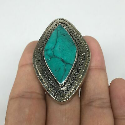 """20.4g,2""""x1.3""""x0.5"""" Turkmen Ring Synthetic Turquoise Statement Bohemian,7,TR190"""