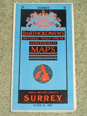 Vintage 1959 Bartholomew's Half Inch Map - Surrey - sheet 9 on cloth