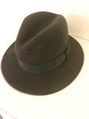 cef929be Orvis 100% Wool Lite Felt Fedora Packable Hat USA Men's Brown Size Medium S