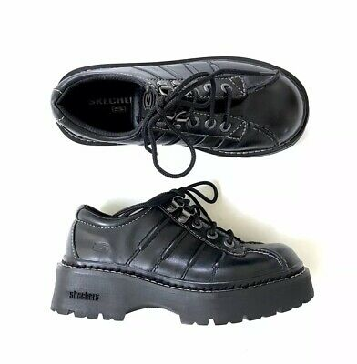 0c81c41b100 90s Skechers Black Leather Platform Boots Dr Martens Jadon Demonia New Rock  Goth