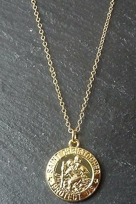 Yellow Gold Plated St Saint Christopher Coin Disc Necklace Pendant Chain