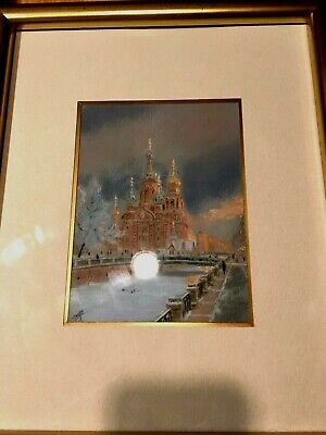 1 of 3 Framed Matted Glass Original Russian Signed Watercolor Ink Fine ART NICE!