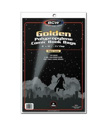 300 Bcw Golden Age Thick Comic Book 2 Mil Acid Free Archival Poly Bags
