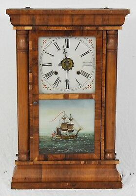 Antique Waterbury Shelf Mantle Clock w Painted Glass 18th Century Nautical Theme
