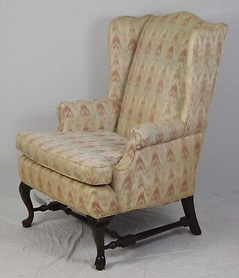 Queen Anne Style Mahogany Wing Arm Chair Williamsburg Style Flame Stitch