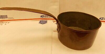 """Antique copper saucepan w/ date mark, hand forged 6"""" melting pot"""