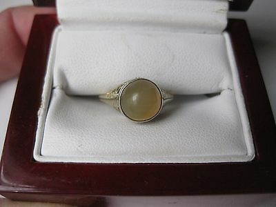 ANTIQUE EDWARDIAN 14K YELLOW GOLD FILIGREE RING with NATURAL MOONSTONE,1910's