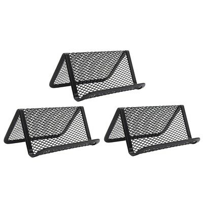 Business Card Holder for Desk, 3 pcs Office Business Card Stand Metal Name D4A9