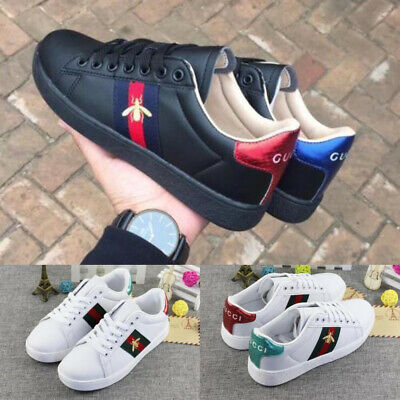 Women Luxury Sneakers Casual Athletic Shoes White Black Embroidery Bee Design AU