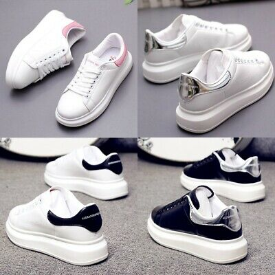 2019 Ladies Womens Chunky Lace Up McQueen Trainers Sports Running Comfy Shoes AU
