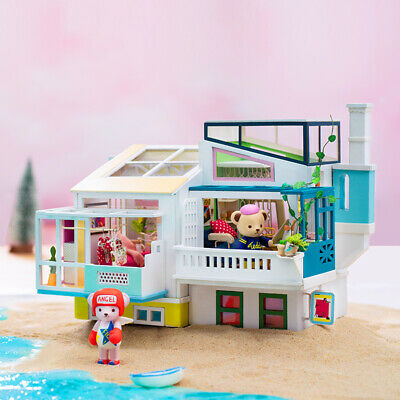 Robotime Wooden Dollhouse DIY Toy for Girl KidsTeddy Doll Miniature Furniture