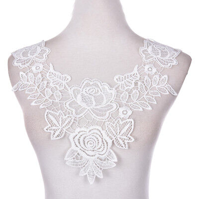 Embroidered Floral Lace Neckline Neck Collars Trims Clothes Sewing Appliques JB