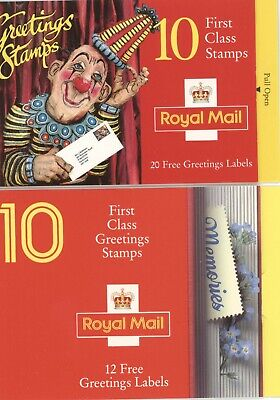 2 GREETINGS Stamp Booklets, 20 first class NVI stamps