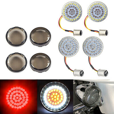 Bullet 1157 LED Front&Rear Red Turn Signals Lights + Cover for Harley Motorcycle