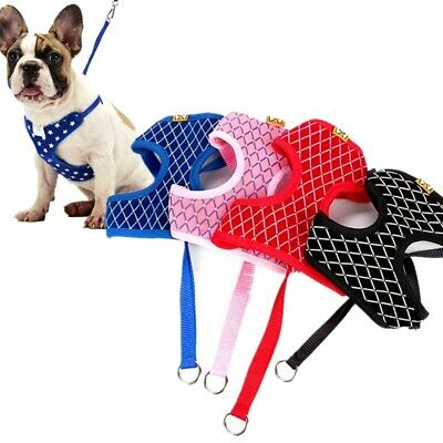 Pet Puppy Harness & Leash Breathable Mesh Small Dog Cat Adjustable Collars Vest