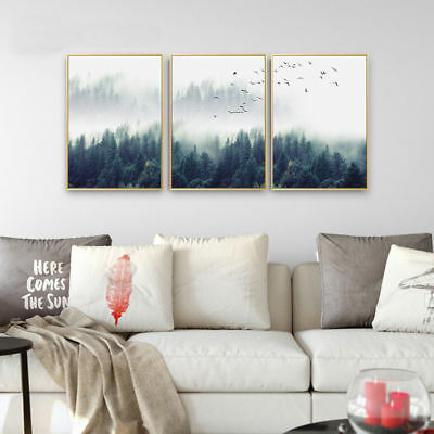 Foggy Forest Landscape Art Canvas Poster Print Nordic Style Home Decoration