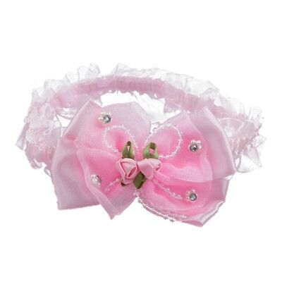 3X(Baby Infant Girls Lace Headband Hair Bow w/ Beads and Roses - Pink S5O2)