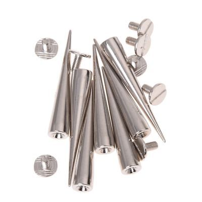 10 Set Silver Screw Bullet Rivet Spike Studs Spots DIY Rock Punk O4M6