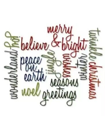 Cutting DIES Words SIZZIX & Cuttlebug Compatible Merry Bright Christmas Noel +++