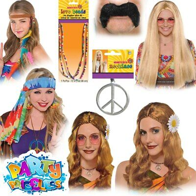 Adult Hippie 1960s 70s Festival Hippy Fancy Dress Wig Glasses Necklace Accessory