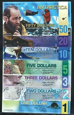 Antarctica, set of 7 notes (1,2,3,5,10,20,50 dollars) POLYMER, fantasy note