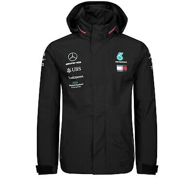 NEW 2019 Mercedes AMG F1 Lewis Hamilton Team Rain Jacket Coat MENS - OFFICIAL