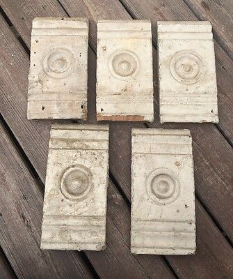 1 Antique Cream Painted Door Window Rosette Plinth Block Architectural Salvage