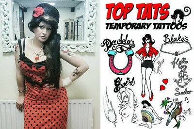 10 LIFE SIZE LARGE Amy Winehouse Tattoos Fancy Dress Costume Outfit Tribtue Act